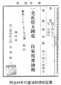 明治44年の醤油税領収証書
